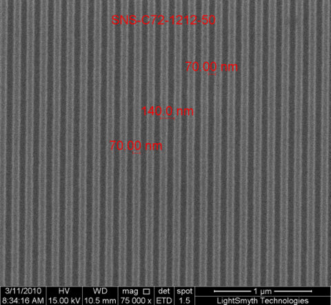 SEM Image of 139nm, 50nm Groove Depth Linear Silicon Nanostamps (Top Down)